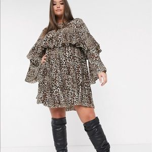 MissGuided Pleated Leopard Dress